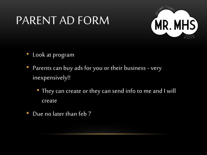 Parent ad form