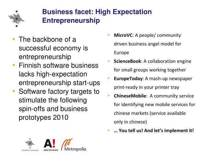 Business facet: High Expectation Entrepreneurship