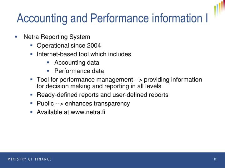 Accounting and Performance information I