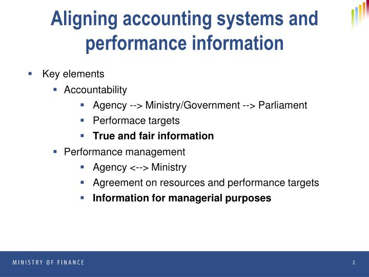 Aligning accounting systems and performance information