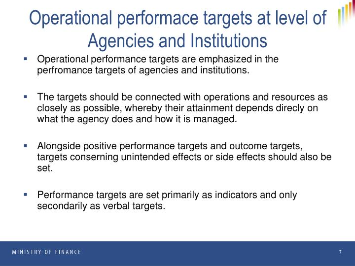 Operational performace targets at level of Agencies and Institutions