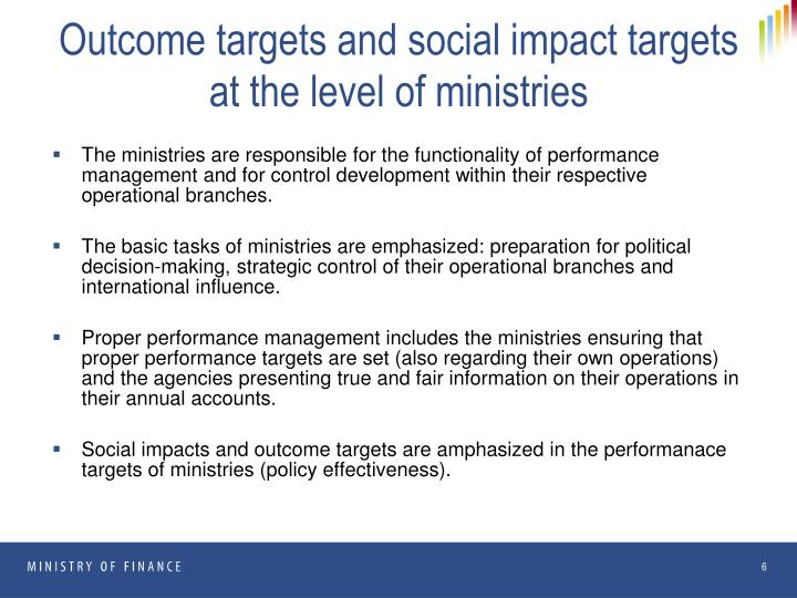 Outcome targets and social impact targets at the level of ministries