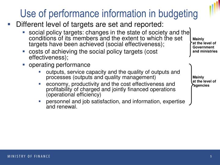Use of performance information in budgeting