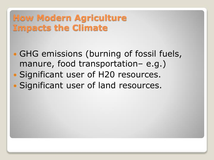GHG emissions (burning of fossil fuels, manure, food transportation– e.g.)