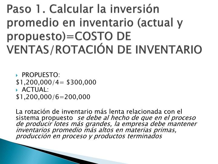 Paso 1. Calcular la inversión promedio en inventario (actual y propuesto)=COSTO DE VENTAS/ROTACIÓN DE INVENTARIO