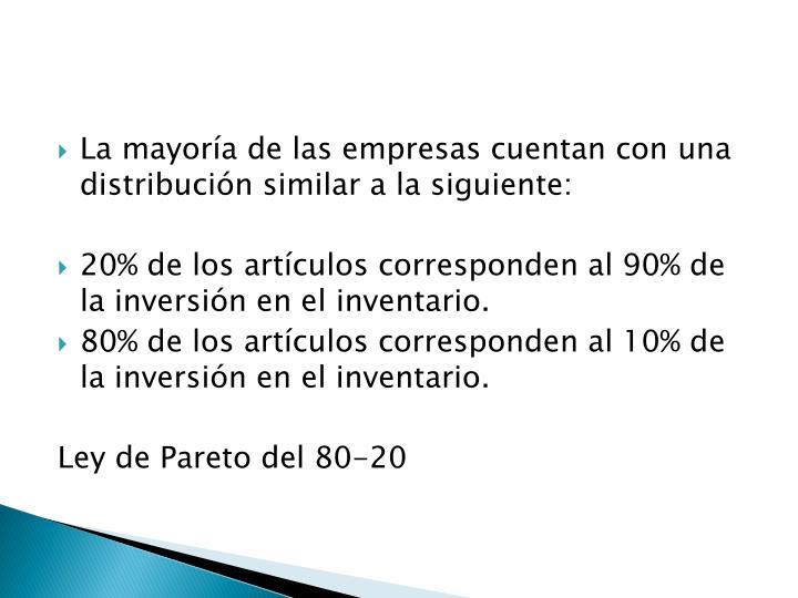 La mayoría de las empresas cuentan con una distribución similar a la siguiente: