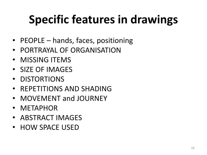 Specific features in drawings