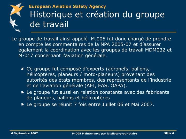 Historique et création du groupe de travail