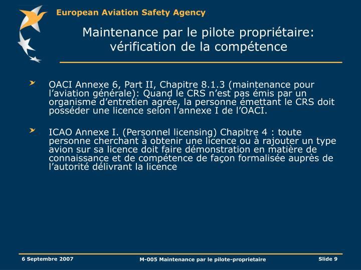 Maintenance par le pilote propriétaire: vérification de la compétence