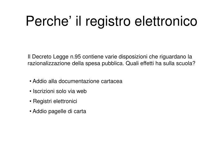 Perche' il registro elettronico