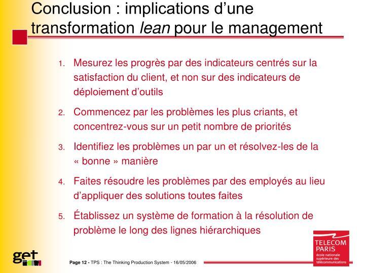 Conclusion : implications d'une transformation
