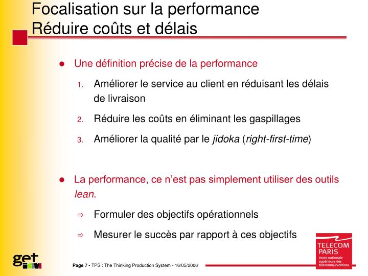 Focalisation sur la performance