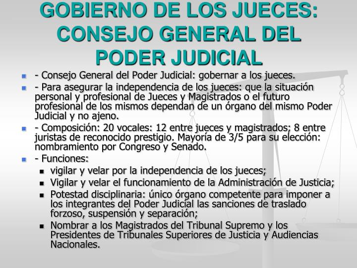 GOBIERNO DE LOS JUECES: CONSEJO GENERAL DEL PODER JUDICIAL