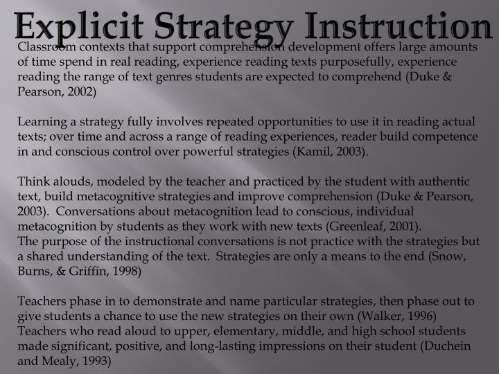 Explicit Strategy Instruction