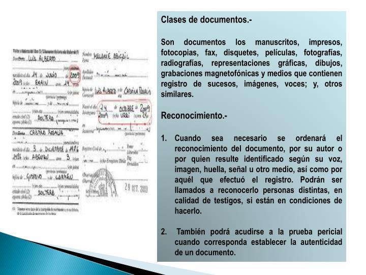 Clases de documentos.-