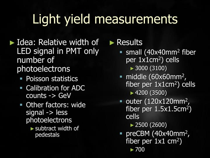 Idea: Relative width of LED signal in PMT only number of photoelectrons