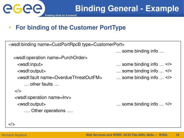 Binding General - Example