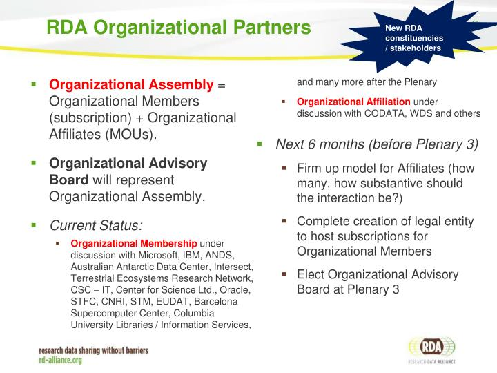 RDA Organizational Partners
