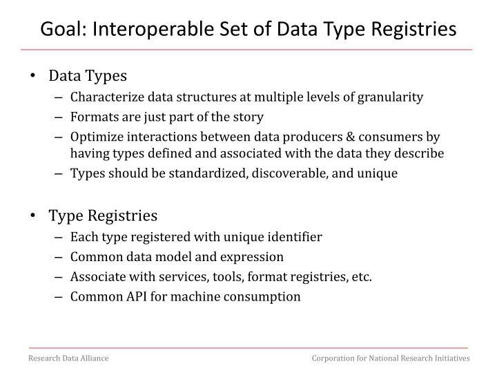 Goal: Interoperable Set of Data Type Registries
