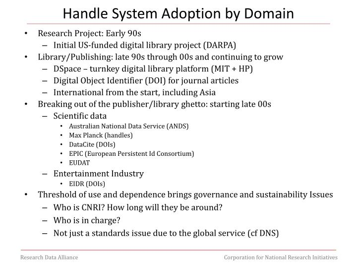 Handle System Adoption by Domain