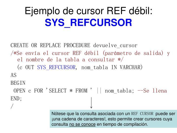 Ejemplo de cursor REF débil: