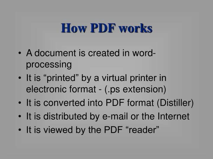 How PDF works