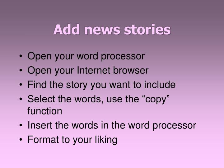 Add news stories