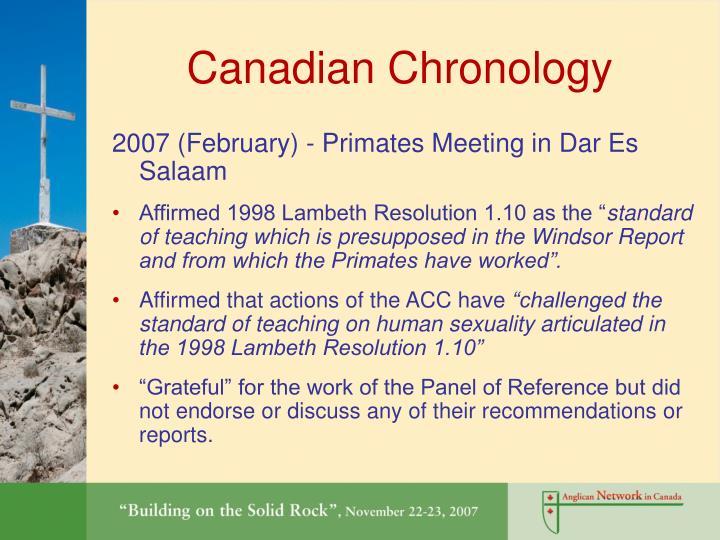 Canadian Chronology