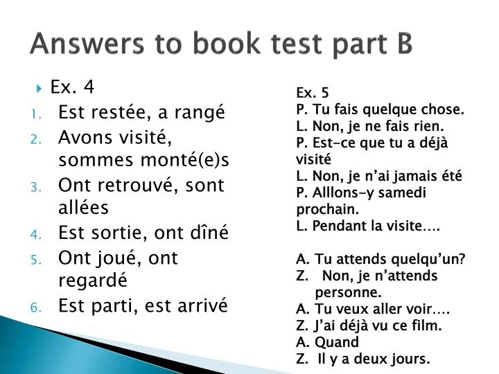 Answers to book test part B