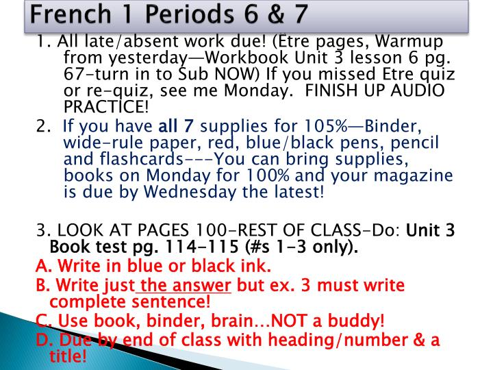 French 1 Periods 6 & 7