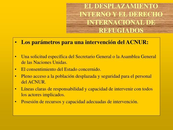 Los parámetros para una intervención del ACNUR: