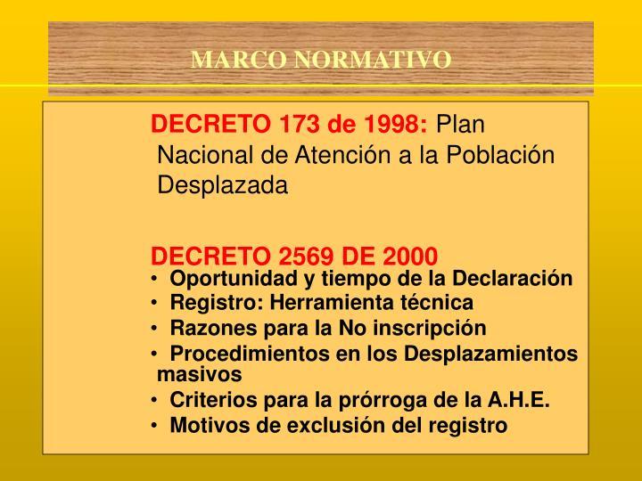 DECRETO 173 de 1998: