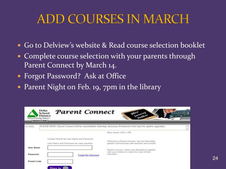 ADD COURSES IN MARCH