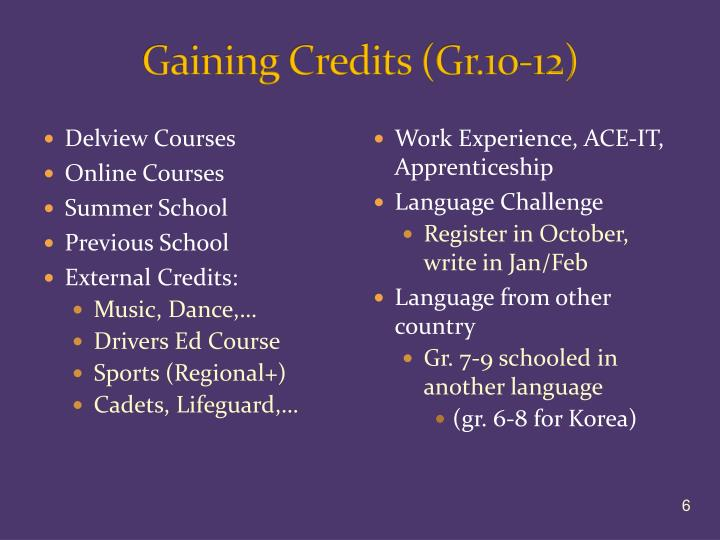 Gaining Credits (Gr.10-12)