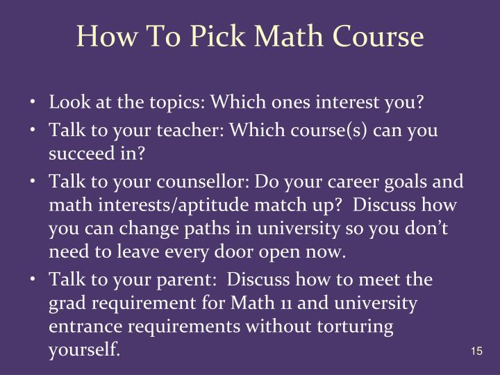 How To Pick Math Course