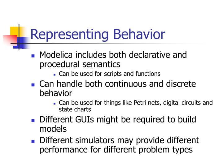 Representing Behavior
