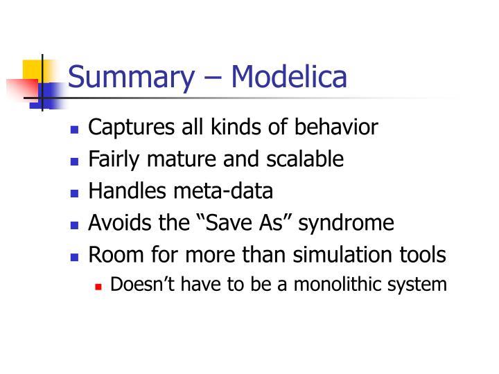 Summary – Modelica