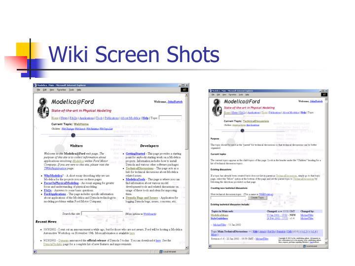 Wiki Screen Shots