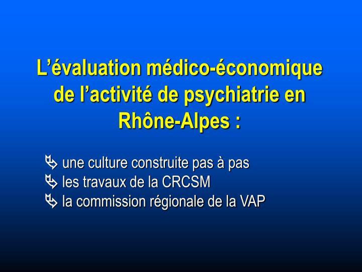 L'évaluation médico-économique de l'activité de psychiatrie en Rhône-Alpes :