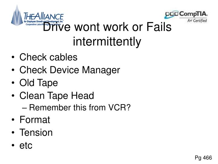 Drive wont work or Fails intermittently