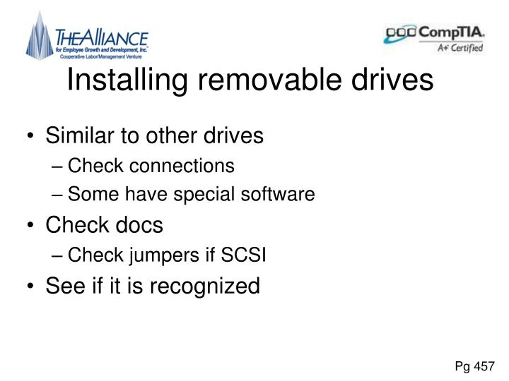 Installing removable drives