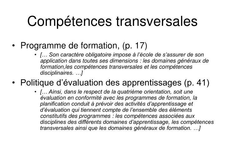 Programme de formation, (p. 17)