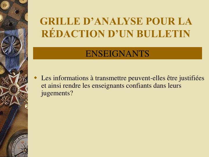 GRILLE D'ANALYSE POUR LA RÉDACTION D'UN BULLETIN