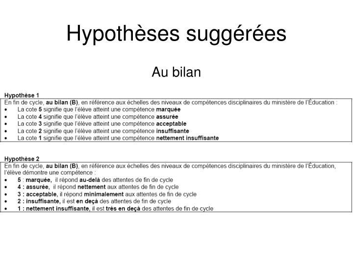 Hypothèses suggérées