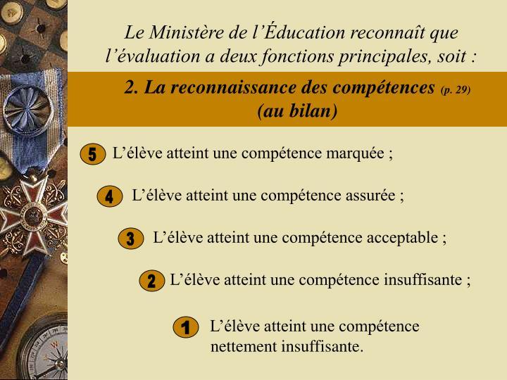 Le Ministère de l'Éducation reconnaît que l'évaluation a deux fonctions principales, soit :