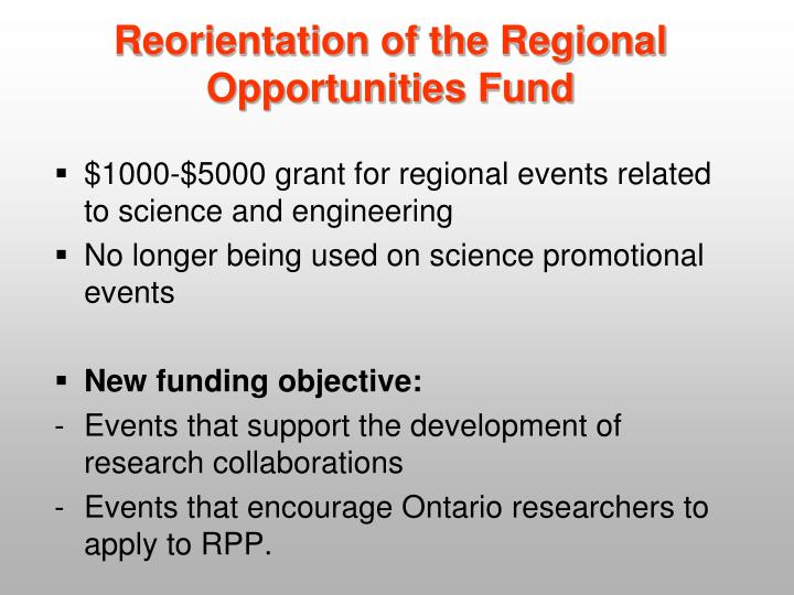 Reorientation of the Regional Opportunities Fund