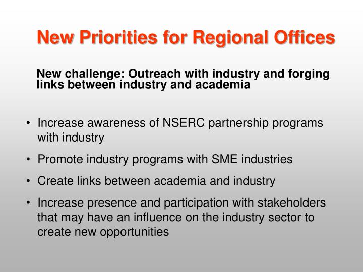 New Priorities for Regional Offices