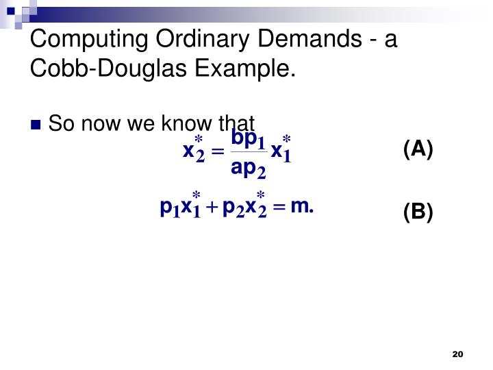 Computing Ordinary Demands - a Cobb-Douglas Example.