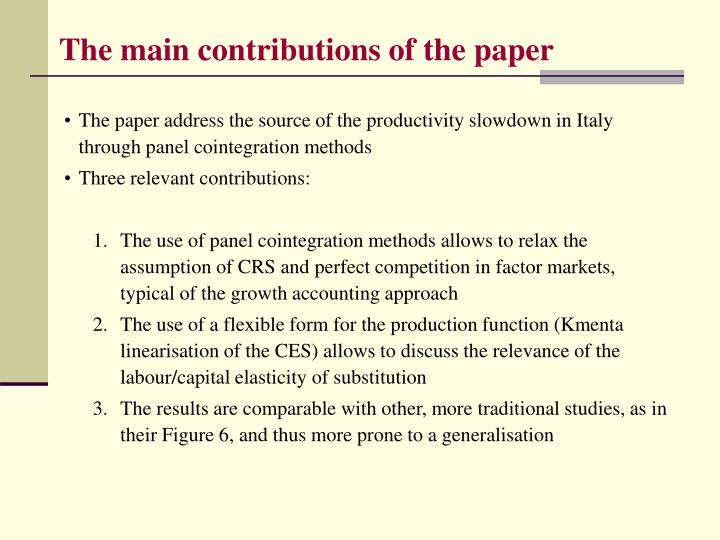 The main contributions of the paper