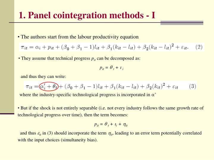 1. Panel cointegration methods - I